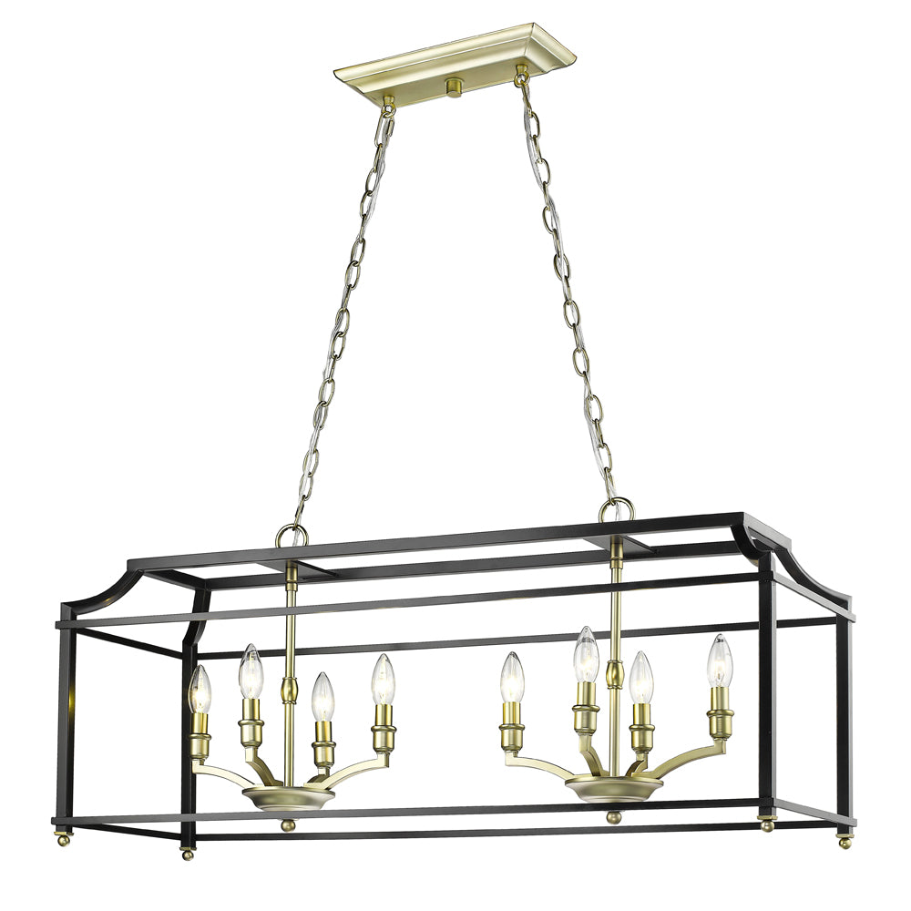 Leighton Linear Chandelier in Satin Brass/Black, by Golden Lighting, GL-8401-LP SB-BLK
