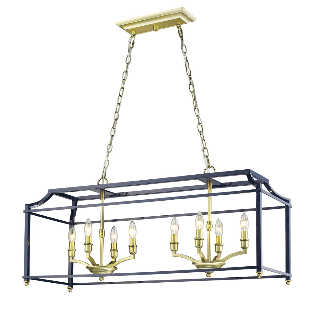 Leighton Linear Chandelier in Satin Brass/Navy, by Golden Lighting, GL-8401-LP SB-NVY