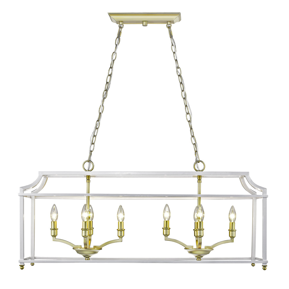 Leighton Linear Chandelier in Satin Brass/White, by Golden Lighting, GL-8401-LP SB-WH