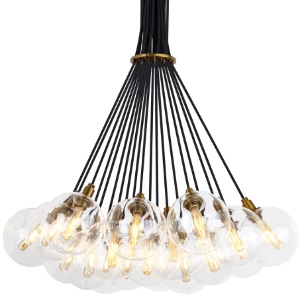 Gambit Chandelier, 19-Light Chandelier, Aged Brass