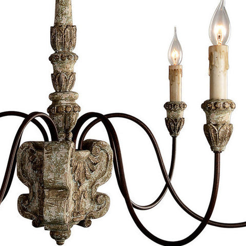 Geovana Chandelier in Weathered Wood, by Terracotta Lighting, H5107-6