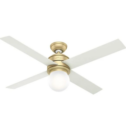 Hepburn Ceiling Fan in Modern Brass and White Grain by Hunter Fans 59320