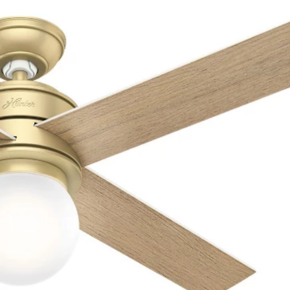 Hepburn Ceiling Fan in Modern Brass and Aged Oak by Hunter Fans 59320