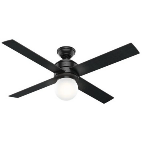 Hepburn Ceiling Fan in Matte Black and Black Oak by Hunter Fans 59321