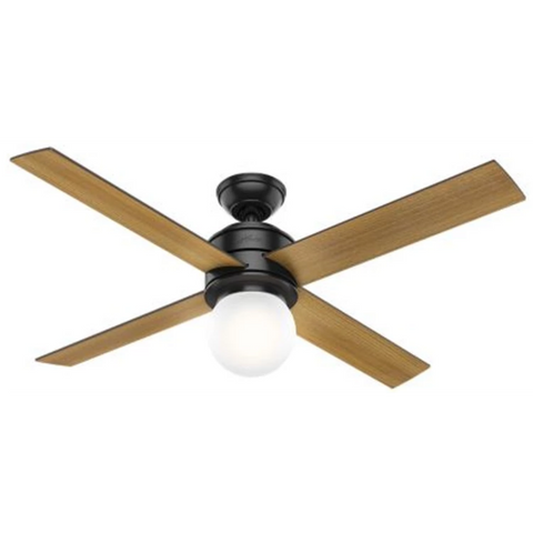 Hepburn Ceiling Fan in Matte Black and Mid Century Walnut by Hunter Fans 59321