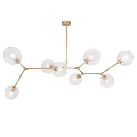 Fairfax Brass Large Linear Mid-Century Modern Chandelier with Clear Glass Globes by Avenue Lighting HF8088-BB