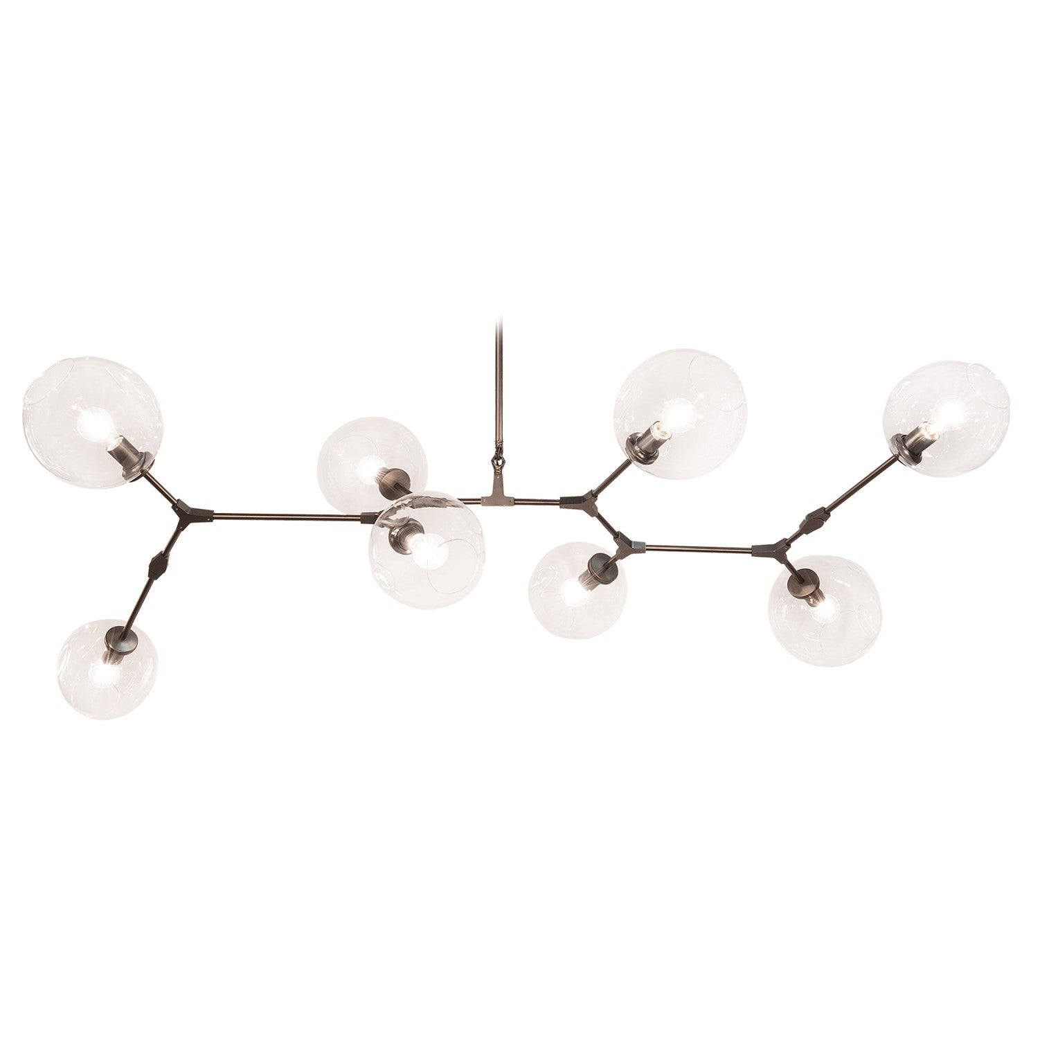 Fairfax Large Bronze Mid-Century Modern Linear Chandelier with Clear Glass Globes by Avenue Lighting HF8088-DBZ