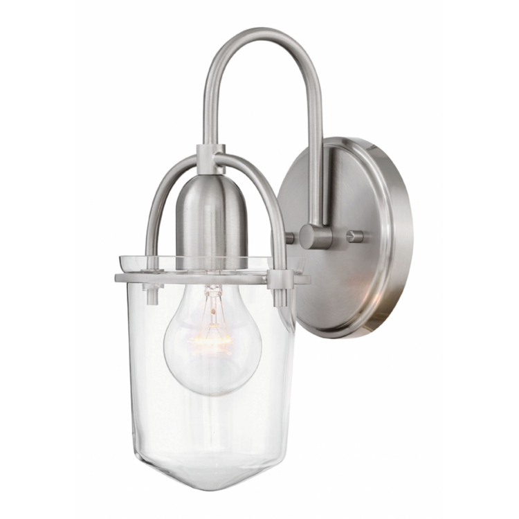 Clancy 1 Light Sconce in Brushed Nickel with Clear Glass Shade by Hinkley Lighting 3030BN