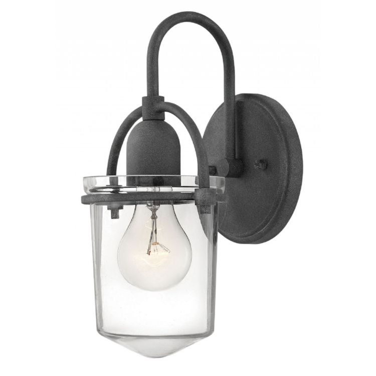 Clancy 1 Light Sconce in Aged Zinc with Clear Glass Shade by Hinkley Lighting 3030BN