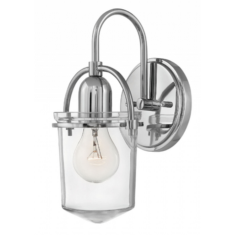 Clancy 1 Light Wall Sconce in Polished Nickel with Clear Glass Shade by Hinkley Lighting 3030PN
