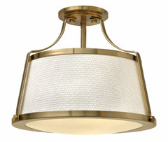 Charlotte 3 Light Semi Flush in Brushed Caramel with Woven Off-White Fabric Shade by Hinkley Lighting 3521BC