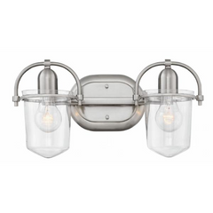 Clancy 2 Light Vanity in Brushed Nickel with Clear Glass Shades by Hinkley Lighting 5442BN-CL