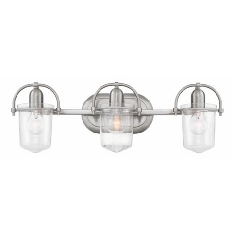 Clancy 3 Light Vanity in Brushed Nickel with Clear Glass Shades by Hinkley Lighting 5443BN-CL