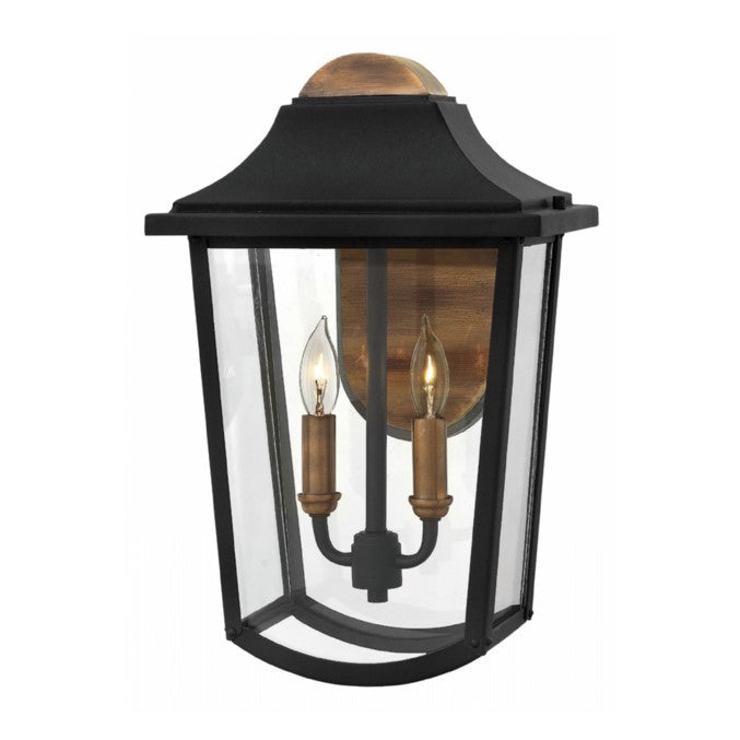 2 Light Burton Outdoor Wall Light in Black and Brass by Hinkley Lighting 1 Light Burton Outdoor Wall Light in Black and Brass by Hinkley Lighting 1974BK