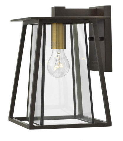 Large 1 Light Walker Outdoor Wall Lantern in Buckeye Bronze with brass accents by Hinkley 2100KZ