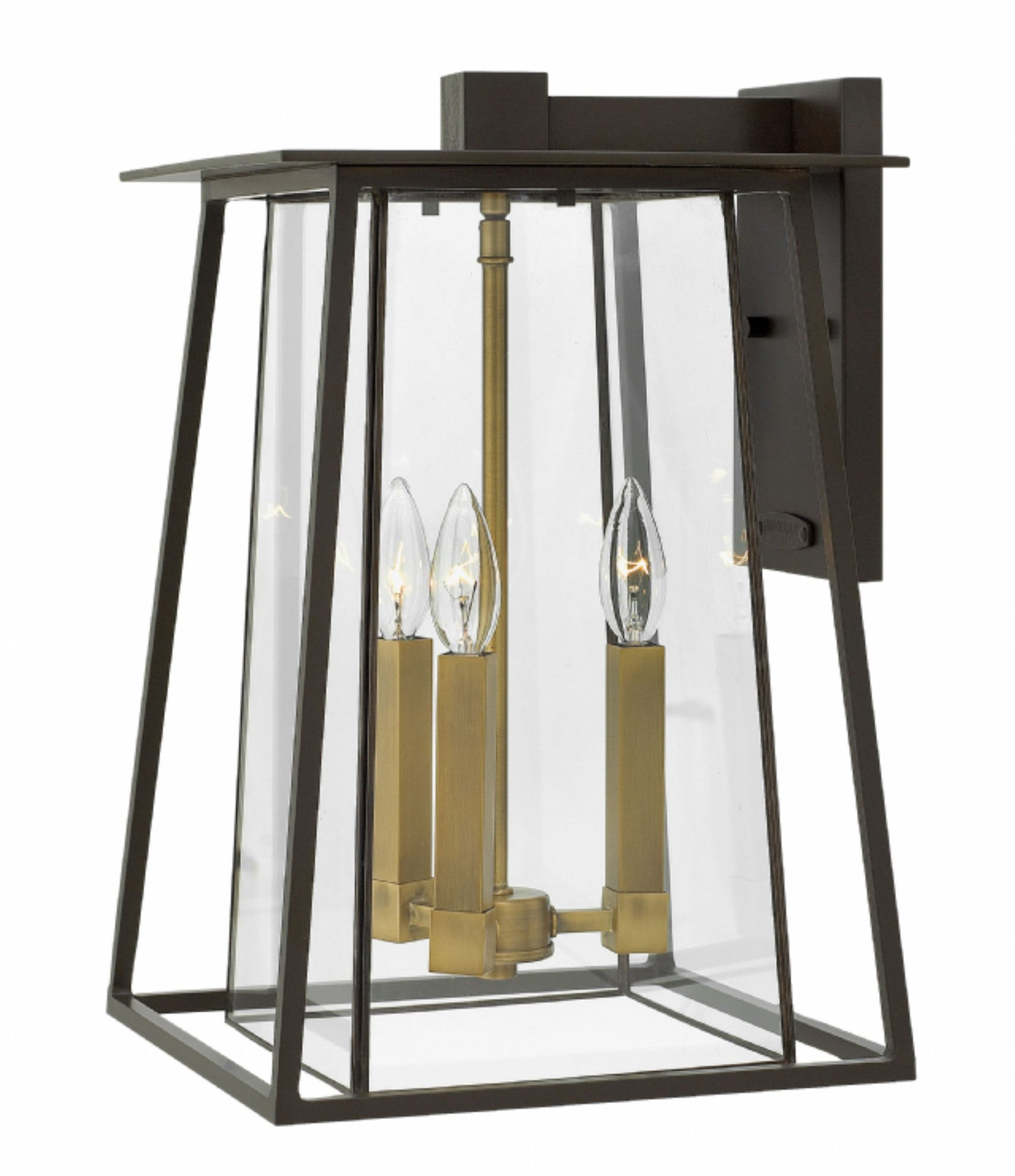 3 Light Walker Outdoor Wall Lantern in Buckeye Bronze with brass accents by Hinkley 2105KZ