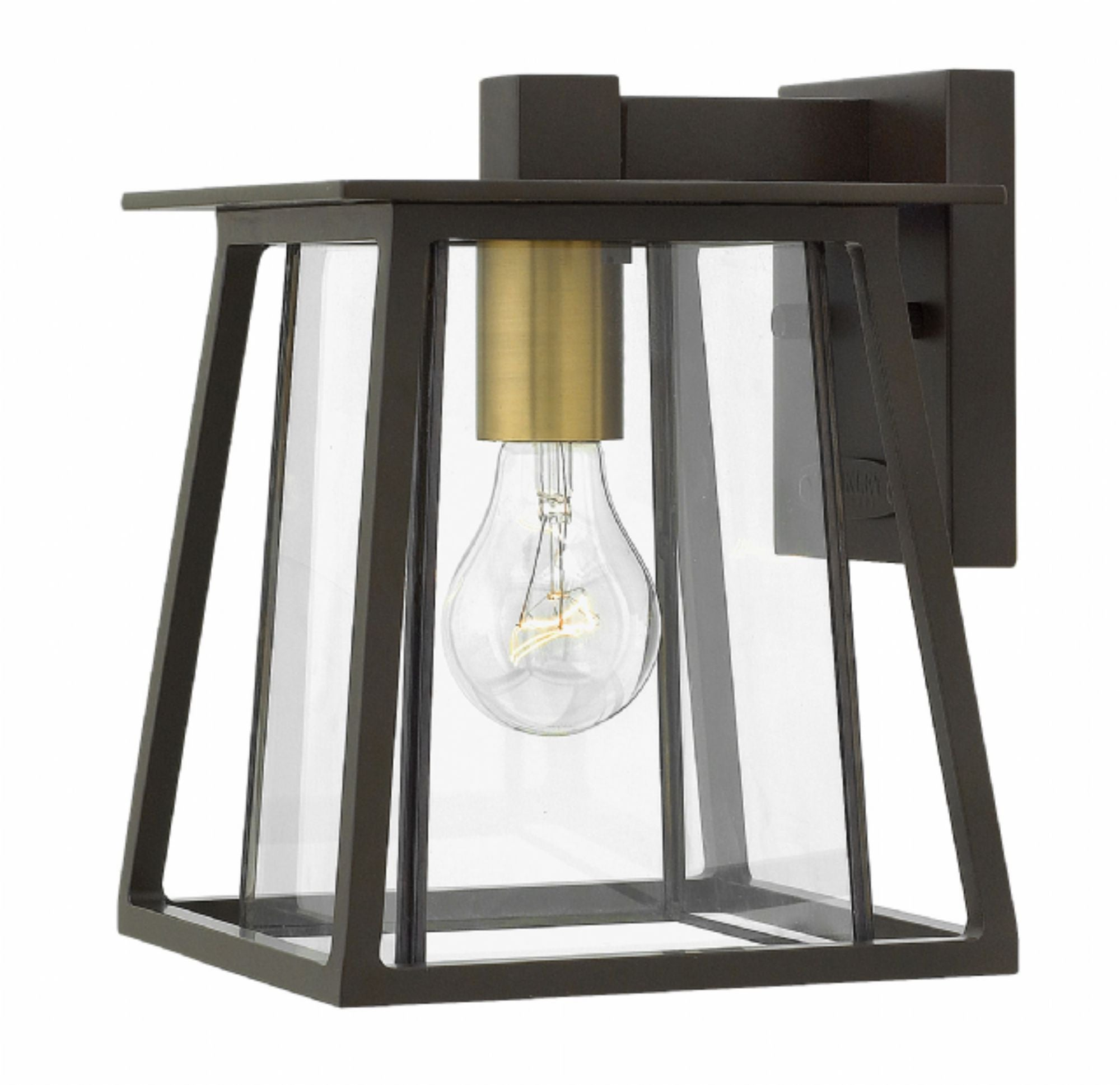 Small 1 Light Walker Outdoor Wall Lantern in Buckeye Bronze with brass accents by Hinkley 2106KZ