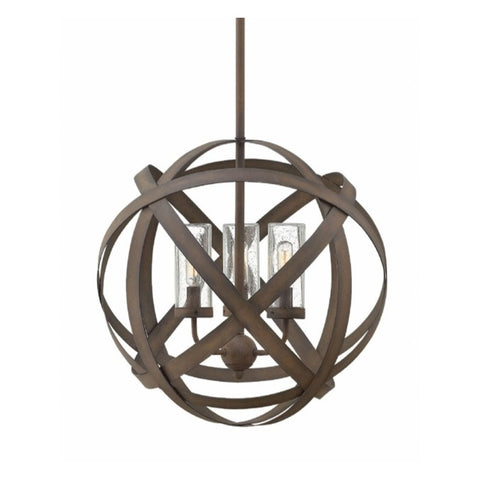 Small Carson Outdoor Orb Chandelier by Hinkley in Vintage Iron 29703VI