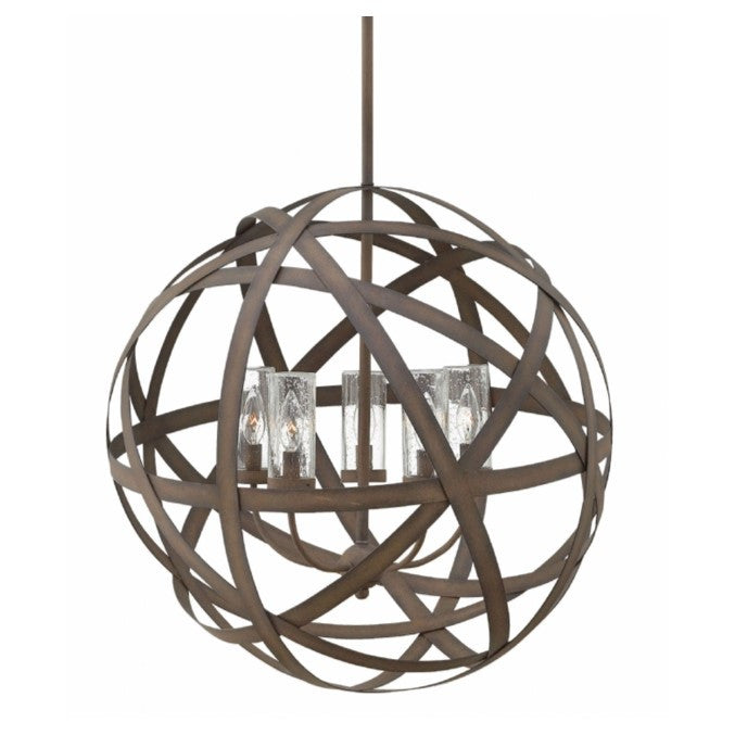 Large Carson Orb Outdoor Chandelier by Hinkley in Vintage Iron Finish 29705VI