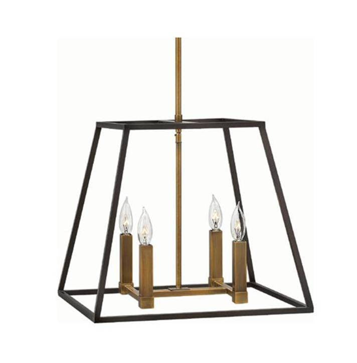 Fulton Medium Foyer by Hinkley Lighting in Bronze 3334BZ | open cage dark bronze metal lantern with Copper-Brass Accents