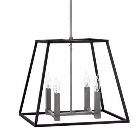 Fulton Medium Foyer by Hinkley Lighting in Aged Zinc 3334DZ | open cage black metal lantern with Silver Accents