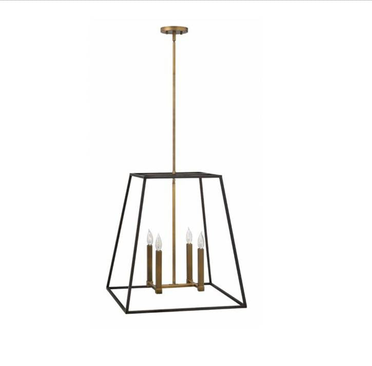 Fulton Large Foyer by Hinkley Lighting in Bronze 3336BZ | open cage dark bronze metal lantern with Copper-Brass Accents