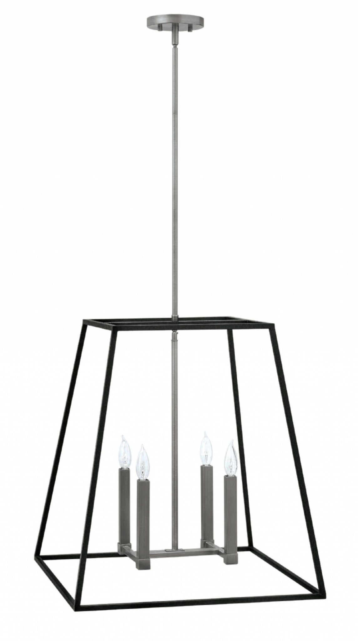 Fulton Large Foyer in Aged Zinc | open cage black metal lantern with Silver Accents by Hinkley 3336DZ
