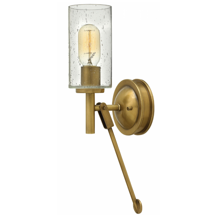 Collier Brass Wall Sconce with Cylindrical Clear Seedy Glass by Hinkley Lighting 3380HB