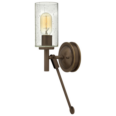 Collier Bronze Wall Sconce with Cylindrical Clear Seedy Glass by Hinkley Lighting 3380LZ
