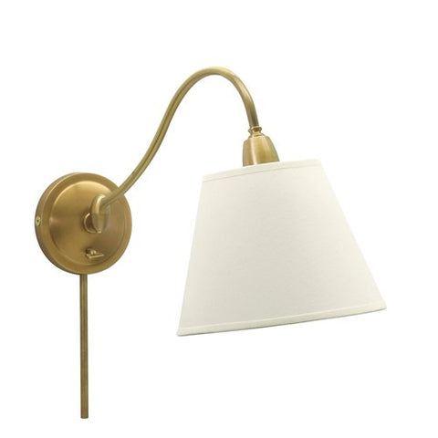 Hyde Park Lamp in Weathered Brass with a White Linen Finish by House of Troy,  HP-725-WB-WL