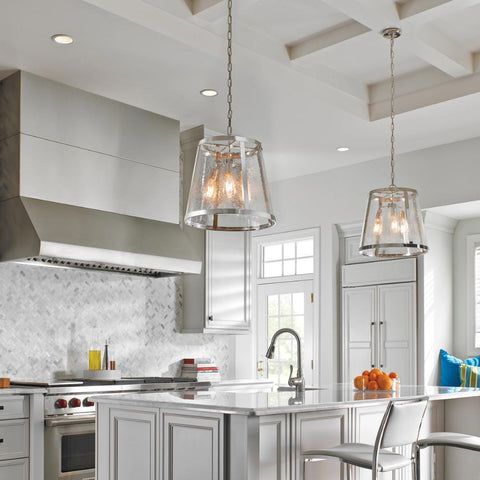 Lifestyle Shot of Harrow Pendant, 3-Light Pendant, Polished Nickel