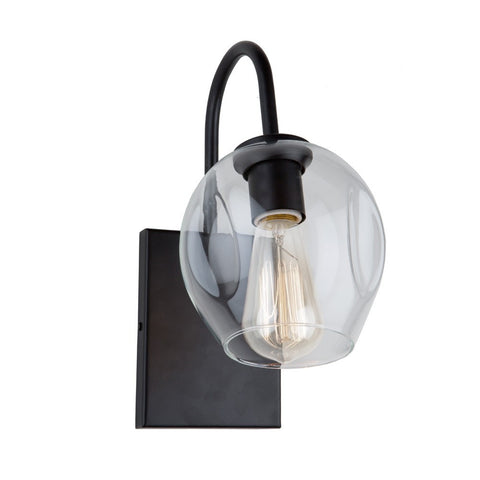 Black Mid-Century Modern Organic Wall Sconce with Clear Glass Shade by Artcraft Lighting JA14021BK