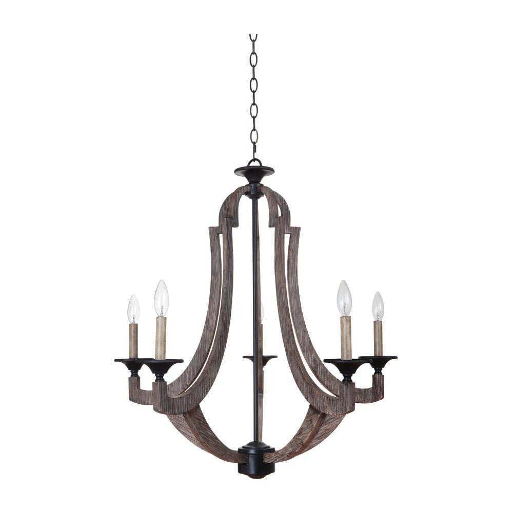 Winton 5 Light Chandelier in Weathered Pine by Craftmade 35125-WP
