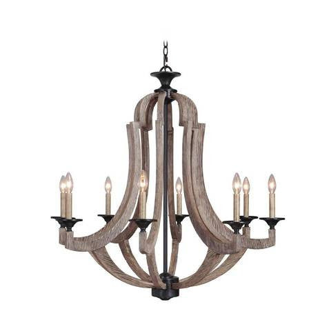 Winton 8 Light Chandelier in Weathered Pine by Craftmade 35128-WP