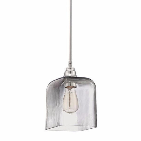 Square Glass Mini Pendant in Chrome with Smoked Clear Glass by Jeremiah Lighting P300CH1