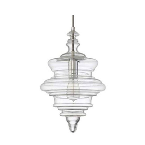 Tapered Blown Glass Mini Pendant with Clear Glass and Chrome Finish by Jeremiah Lighting P600CH1