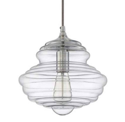 Blown Glass Mini Pendant with Clear Glass and Chrome Finish by Jeremiah Lighting P6101