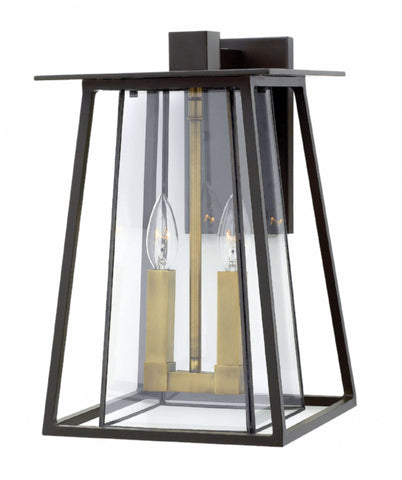 2 Light Walker Outdoor Wall Lantern in Buckeye Bronze with brass accents by Hinkley 2104KZ