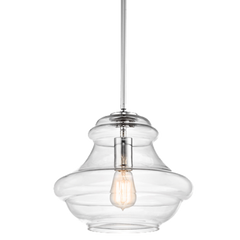 1 Light Everly Pendant in Chrome with clear glass by Kichler 42044OZ