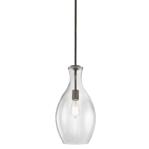 1 Light Everly Pendant in Olde Bronze with Clear Glass by Kichler 42047OZ