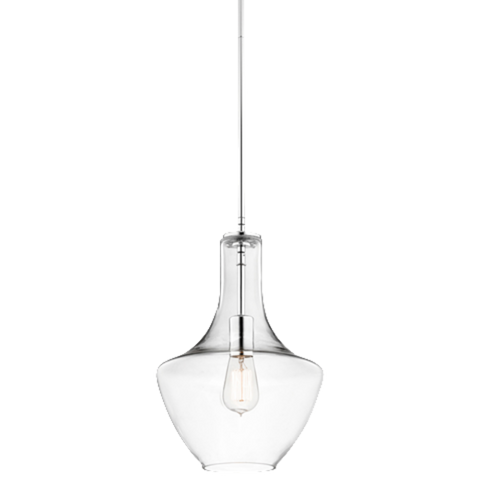 1 Light Everly Pendant in Chrome with Clear Glass by Kichler 42141CHCLR