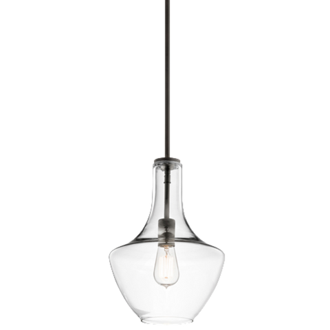 1 Light Everly Pendant in Olde Bronze with Clear Glass by Kichler 42141OZCLR