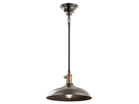 1 Light Medium Cobson Pendant in Olde Bronze by Kichler 42580NBR