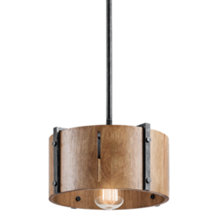 Elbur 1 Light Pendant in Distressed Black with Natural Maple Shade by Kichler Lighting 42643DBK