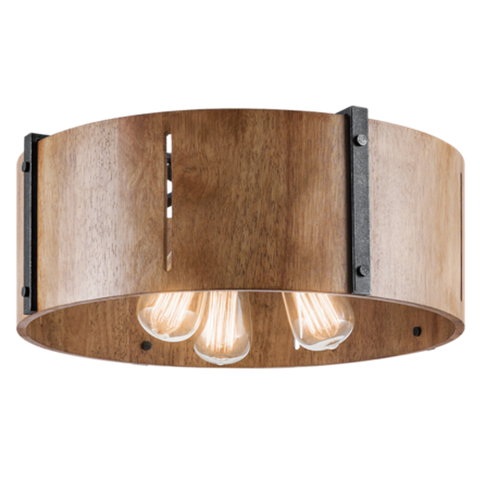 Elbur 3 Light Semi Flush in Distressed Black with Natural Maple Shade by Kichler Lighting 42644DBK