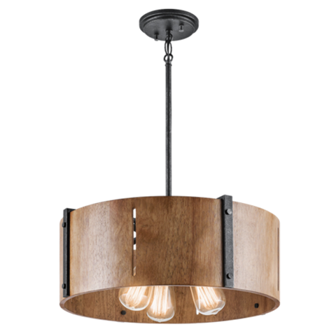 Elbur 3 Light Pendant in Distressed Black with Natural Maple Shade by Kichler Lighting 42643DBK