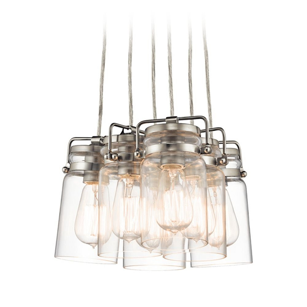 Six Light Brinkley Mason Jar Pendant Cluster in Brushed Nickel by Kichler 42877NI