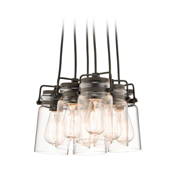 Six Light Brinkley Mason Jar Pendant Cluster in Olde Bronze by Kichler 42877OZ
