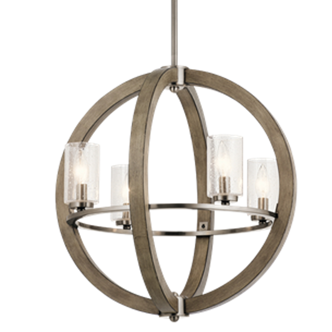 Distressed Antique Gray 4 Light Grand Bank Orb Chandelier by Kichler 43185DAG