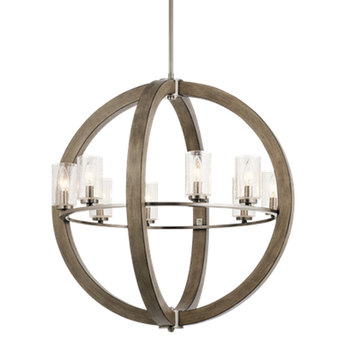 Distressed Antique Gray 8 Light Grand Bank Orb Chandelier by Kichler 43190DAG